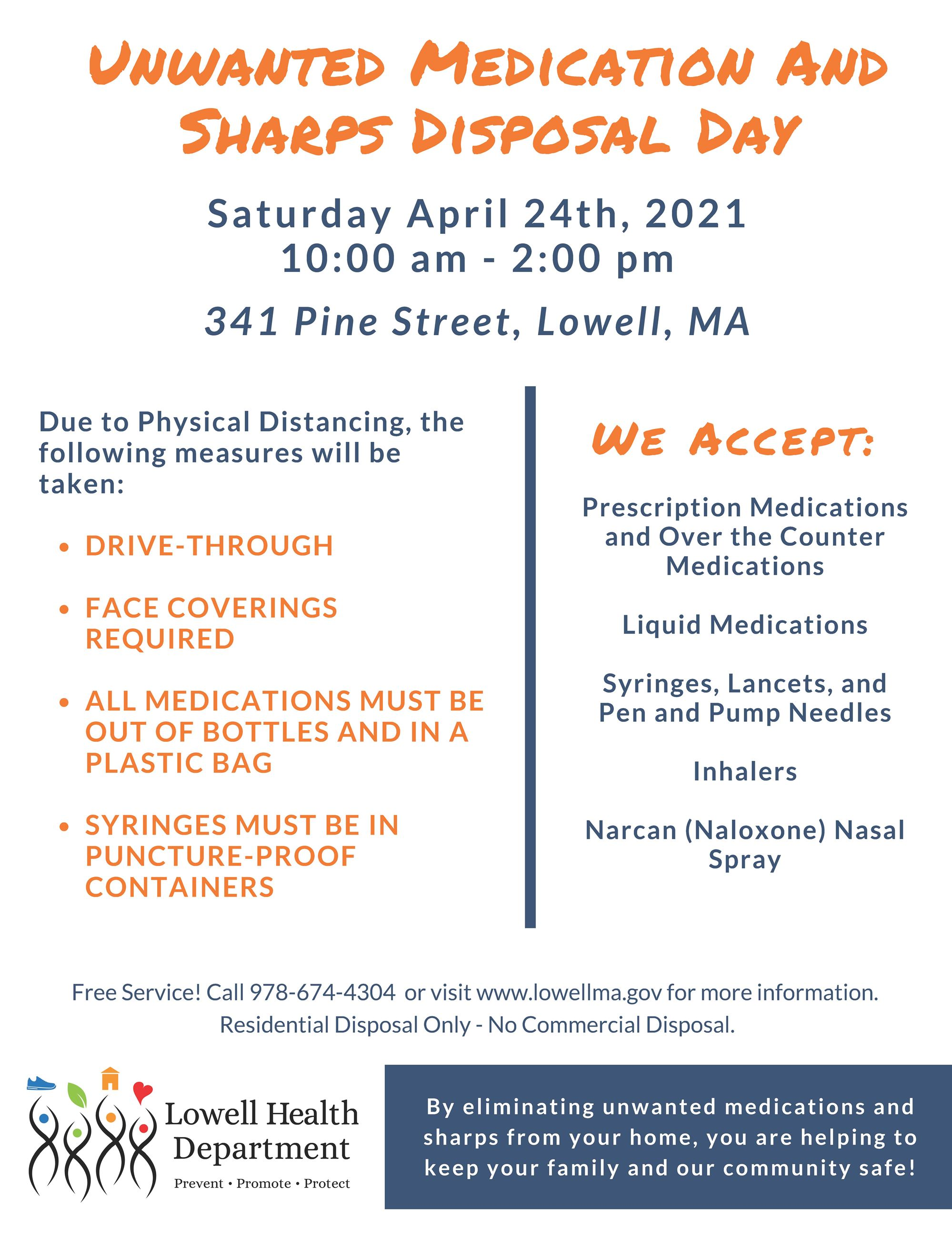 04-24-2021 Medication and Sharps Disposal Day - Lowell