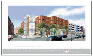 A mock-up image of the JAM Parking Structure