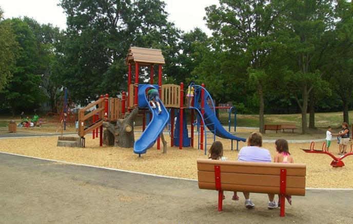McPherson Park playground including benches and slides
