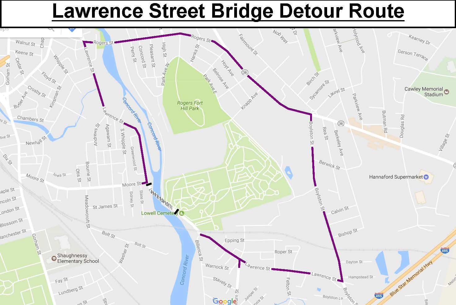 Lowell Lawrence St Bridge 24-Hour Road Closure Detour Map