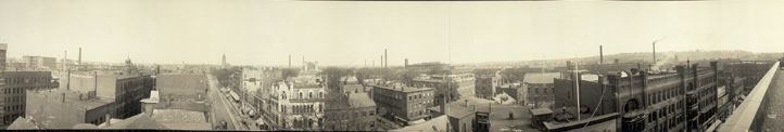 Old black and white panoramic photo of Lowell